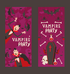 Vampire style halloween party vertical banners vector