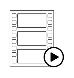 video player reel and button symbol in black and vector image