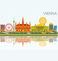 Vienna skyline with color buildings blue sky and vector