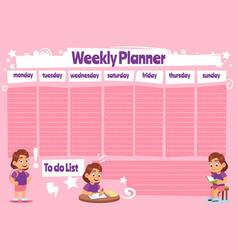 weekly planner for kid school calendar template vector image