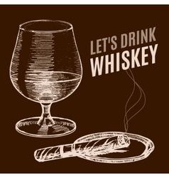 Whiskey Poster Hand Draw Sketch vector image