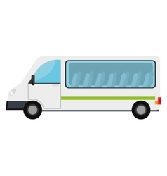 White van with a green stripe vehicle transport vector image