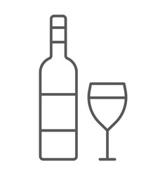 wine thin line icon alcohol and drink glass sign vector image