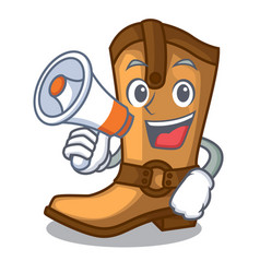 With megaphone cowboy boots in the shape cartoon vector