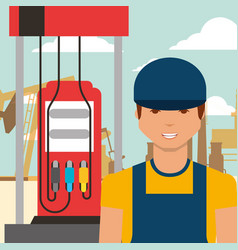 worker man and gas station oil industry vector image