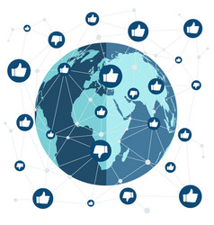 world connection with like and dislike vector image