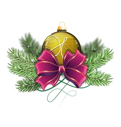 Yellow Christmas ball with bow vector