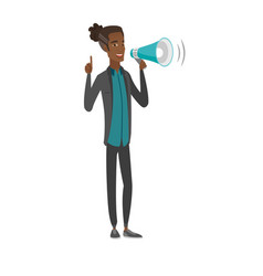 Young african businessman talking into loudspeaker vector