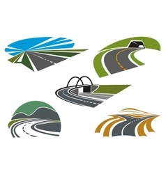 Asphalt highways and roads abstract icons vector