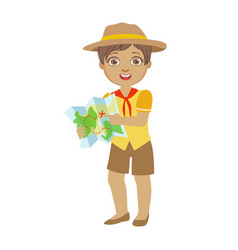 cute boy scout holding a tourist map a colorful vector image