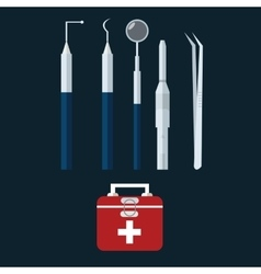 dental dentist tools object icon bag vector image