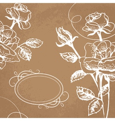 Floral background with roses and frame vector image