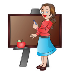 lady teacher using a chalk board vector image vector image