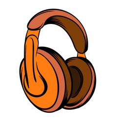 orange headphones icon cartoon vector image vector image