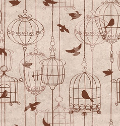 Seamless pattern with birds and cage vector