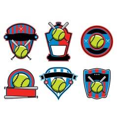 Softball Badges and Emblems vector image