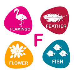 Cute alphabet in f letter for flamingo vector