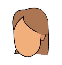 female head face cartoon profile vector image