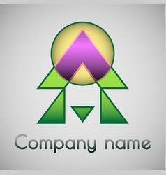 geometrical logo of the company vector image vector image