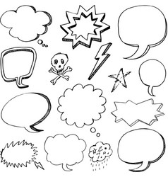 hand drawn cartoon speech bubbles vector image