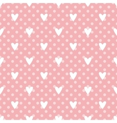 Tile cute pattern with white hearts on polka dots vector image
