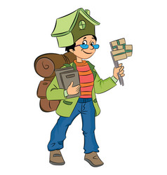 backpacking around the world vector image vector image