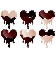 chocolate hearts collection vector image