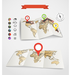 Earth maps set with weather icons vector image