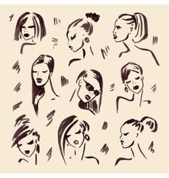 Fashion girl Hand drawn Portrait vector image vector image
