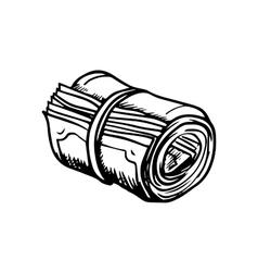 Roll of money sketch icon vector image