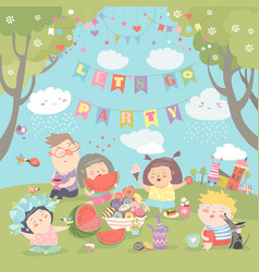 children having picnic at the lawn vector image