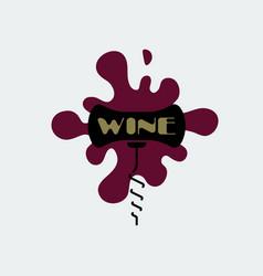 corkscrew icon black corkscrew with burgundy stain vector image
