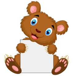 Cute brown bear cartoon holding blank sign vector image vector image