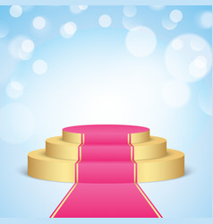 golden stage with pink carpet vector image vector image