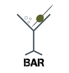 Martini cocktail bar logo Linear style glass with vector image