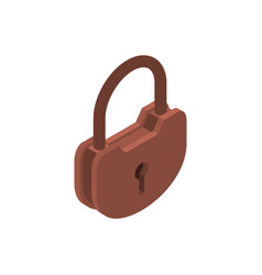 old lock isolated big padlock on white background vector image vector image