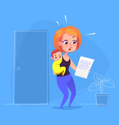 woman with child looking at document vector image