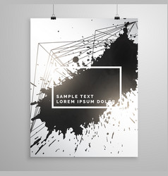abstract black ink splatter poster leaflet vector image