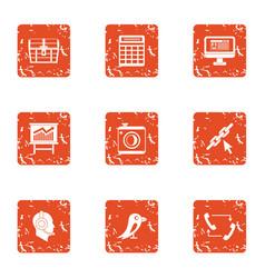 advance icons set grunge style vector image
