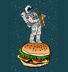 Astronaut plays saxophone on a burger vector