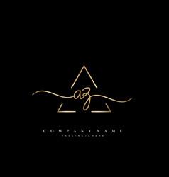 Az initial handwriting minimalist geometric logo vector