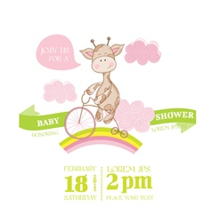 Baby shower or arrival card - with giraffe vector