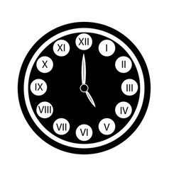 Black clock with roman numerals icon isolated vector
