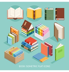 Book Isometric Flat Icons set vector image