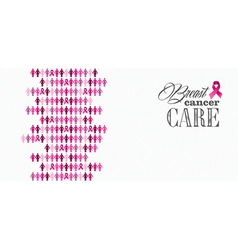Breast cancer awareness ribbon women figures vector