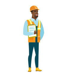 builder holding clipboard with papers vector image