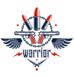 Bullets and guns emblem of revolution and war vector