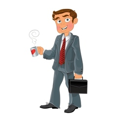 Businessman with cup and brief case vector