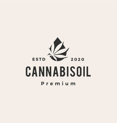 cannabis oil hipster vintage logo icon vector image