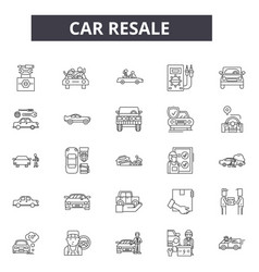 Car resale line icons for web and mobile design vector